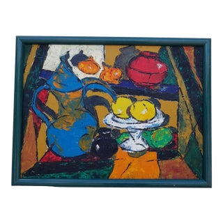 """1970s Vintage """"Fruit Still Life"""" Oil Painting by Anne Radcliffe For Sale"""