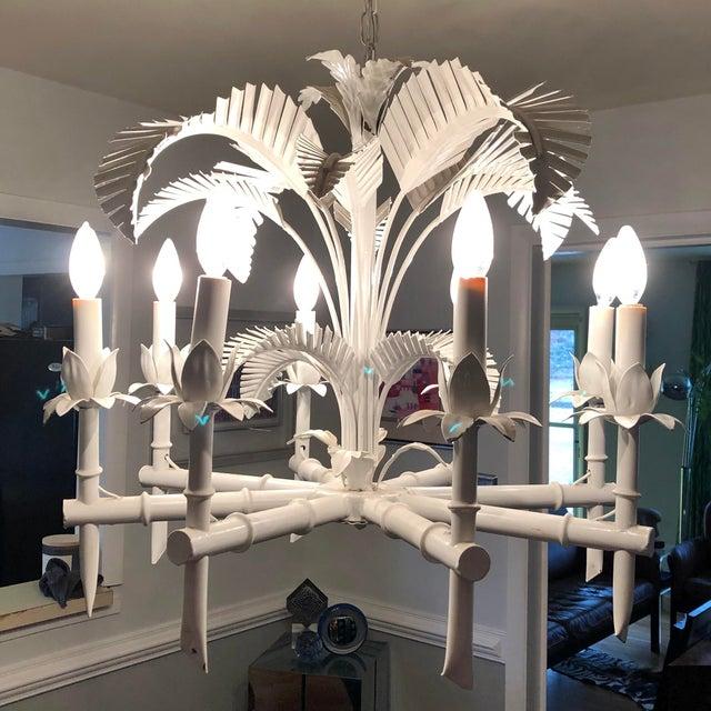 Vintage Tole Palm Chandelier For Sale - Image 9 of 12