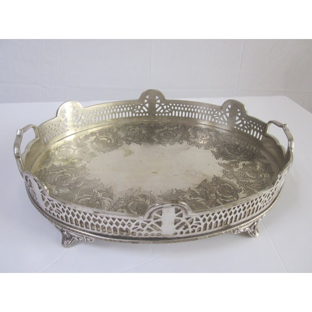 Ornate Silver Perfume Vanity Serving Tray - Image 4 of 8