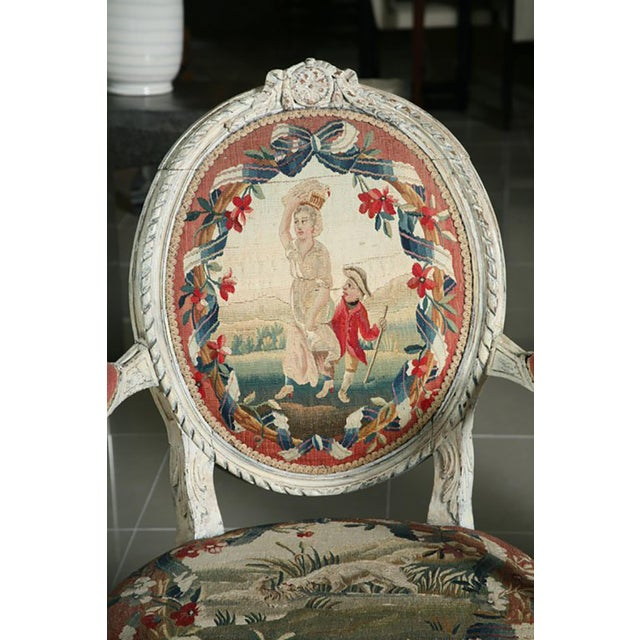 Fine Pair of Swedish Neoclassic Painted Armchairs For Sale - Image 4 of 9