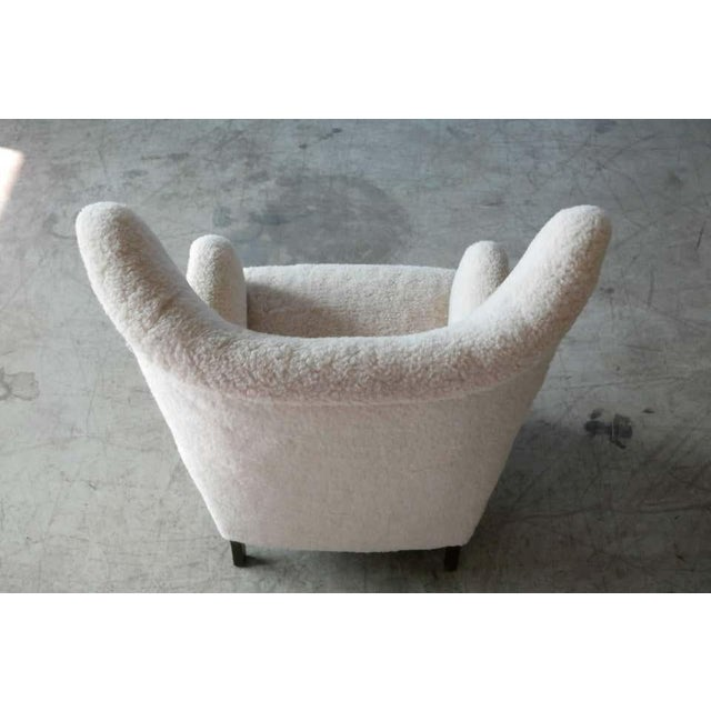 Off-white High Back Lounge Chair in Lambswool Danish 1940's Attributed to Flemming Lassen For Sale - Image 8 of 11