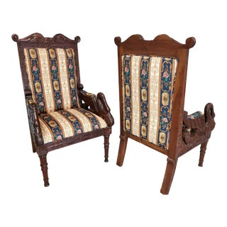 Vintage French Empire Carved Mahogany Swans Fireside Accent Armchairs - Set of 2 For Sale