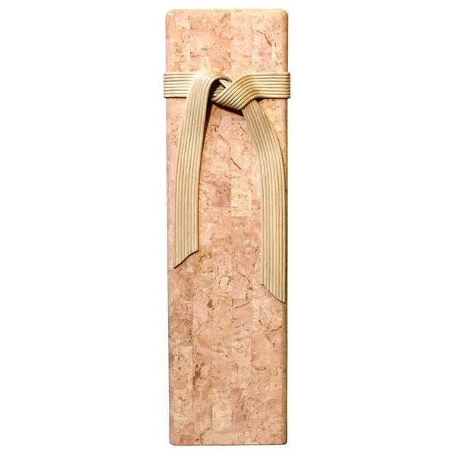 Late 20th Century Pink Tessellated Stone Pedestal With Rattan Ribbon Tie For Sale - Image 5 of 5