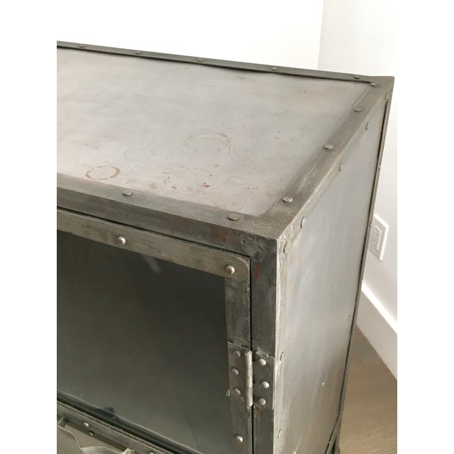 Industrial Antiqued Metal Cabinet - Image 6 of 9