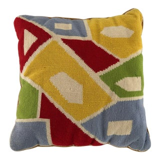 Midcentury Handmade Abstract Colorful Needlepoint Pillow 14x14 For Sale