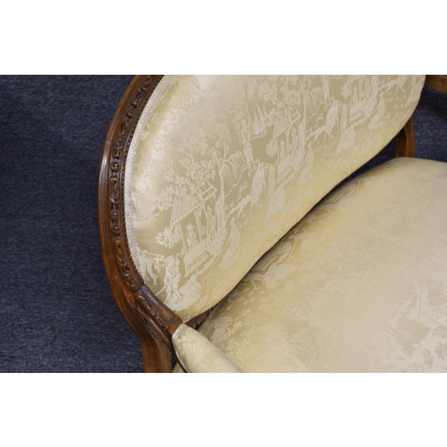 19th Century French Louis XVI Style Carved Chinoiseries Canape Settee For Sale - Image 4 of 12