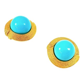 Ciner Cabochon Turquoise Earrings For Sale