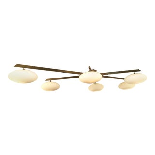 Arredoluce Brass Flush Mount Chandelier For Sale