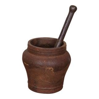 Vintage Sarreid Ltd Iron Mortar & Pestle For Sale