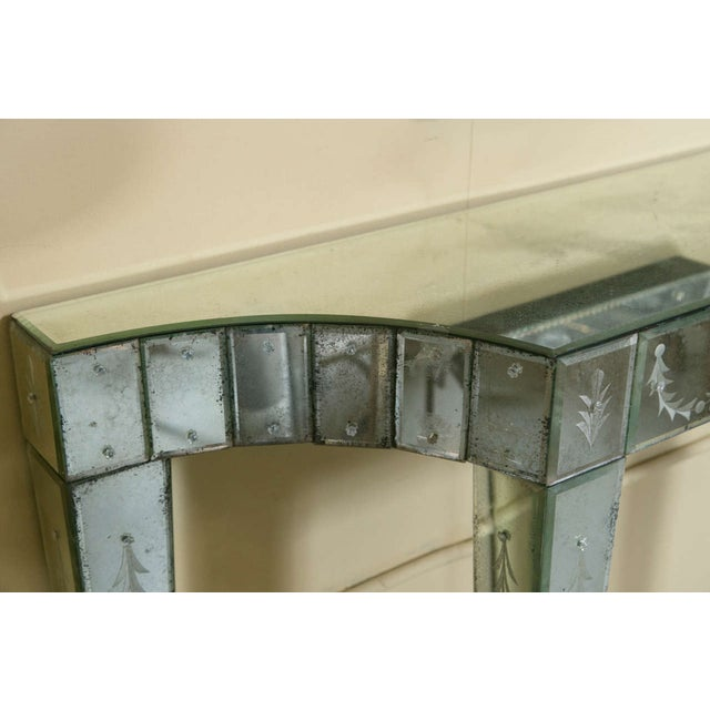 Etched Glass Mirrored Consoles - A Pair - Image 5 of 9