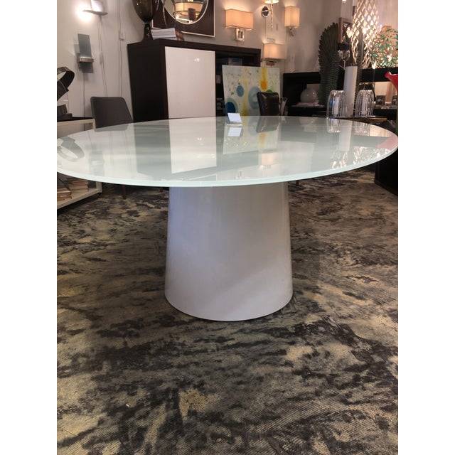 Antares Italian Oval Glass White-Lacquer Base Table For Sale - Image 9 of 10