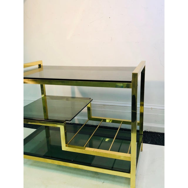 Italian 1970s Italian Brass Bar Cart With Smoke Glass Shelves For Sale - Image 3 of 10