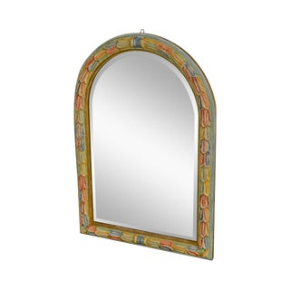 LaBarge Vintage Italian Colorful Hand Painted Arched Beveled Mirror For Sale