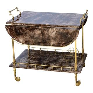 Italian Aldo Tura Chocolate Color Lacquered Goatskin Bar Cart, C.1960-1970 For Sale