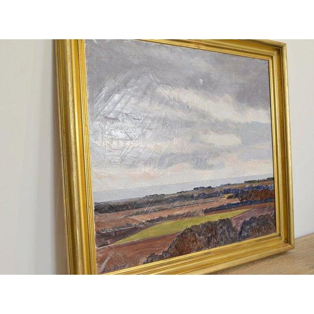 Landscape signed by Lars Swane on Front. Oil on Canvas, Gilt Wood Frame.