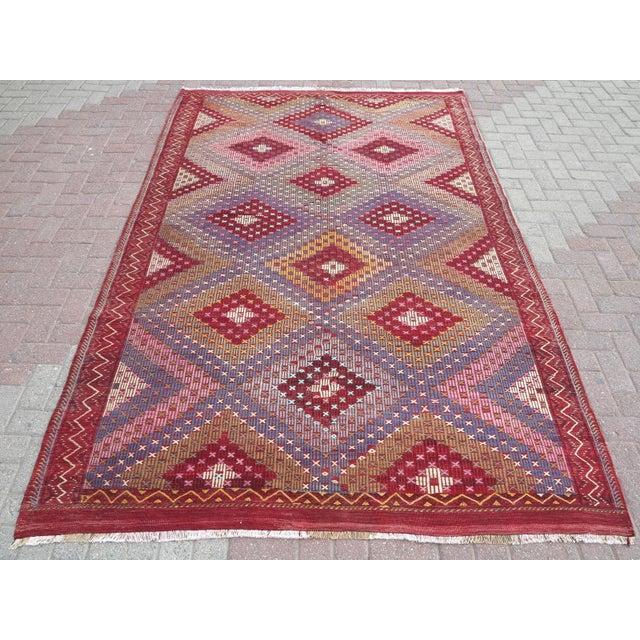 "Vintage Turkish Handmade Kilim Rug-6'1'x9'7"" For Sale - Image 13 of 13"