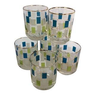 Vintage Blue & Green Shot or Juice Glasses - Set of 6 For Sale