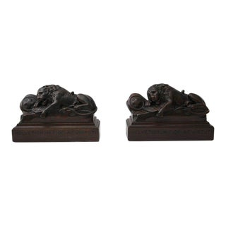 Swiss Guard Lion Carved Wood Bookends - a Pair For Sale