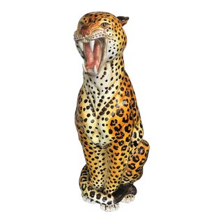 Vintage 1970s Large Scale Hand Painted Ceramic Leopard, Italy For Sale
