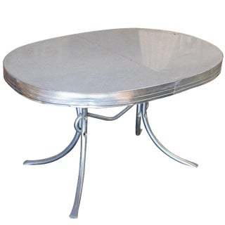Mid-Century Oval Formica Kitchen Dining Table With Chrome Legs For Sale