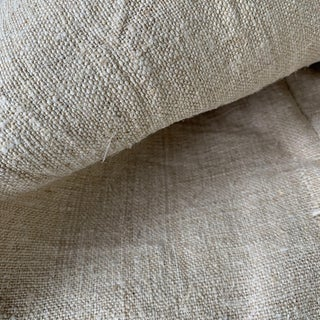 "Antique Rustic Natural Coarse Heavy Hemp Fabric - 50x72"" For Sale"