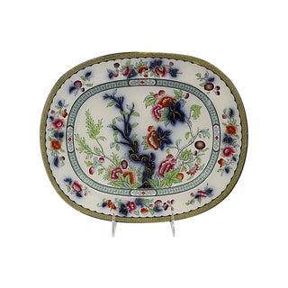 Antique Flow Blue Polychrome Platter