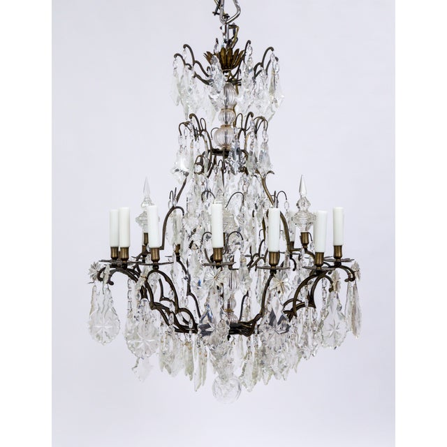 Early 20th Century Multi Crystal 15-Arm Birdcage Chandelier For Sale - Image 13 of 13