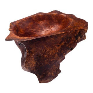 Large Vintage Burl Wood Catchall Sculpture Centerpiece 1960s