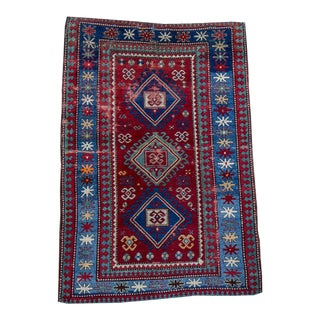 "Antique Kazak Colorful Small Rug - 4'2""x6'3"""