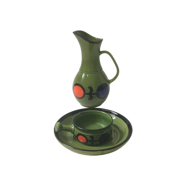 1960s Hand Painted Ceramic Pitcher & Serving Set For Sale