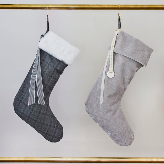 Custom silver velvet stocking with removable collar and hand-stamped porcelain charm. The collar has vintage ribbon ties....