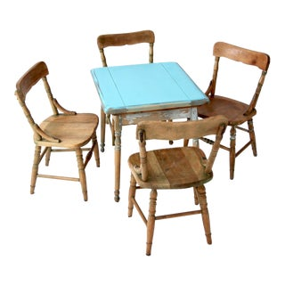 Vintage Kid's Table and Chairs - Set of 5