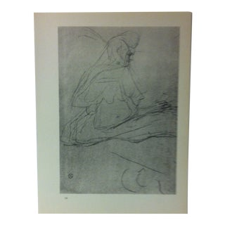 """Circa 1980 """"Seated Woman Milliner 1899"""" Print of a Toulouse-Lautrec Drawing For Sale"""