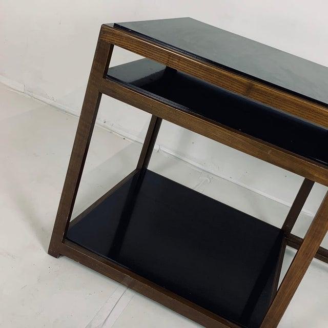 Wood Edward Wormley for Dunbar Black Micarta & Ash Model 5403 End Table W/ Shelf For Sale - Image 7 of 8