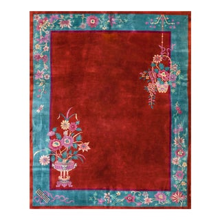 1920s Antique Chinese Art Deco Rug-8′ × 9′8″ For Sale