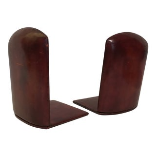 Italian Leather Folding Bookends - a Pair For Sale