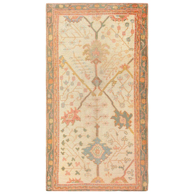 Antique Decorative Turkish Oushak Rug - 3′7″ × 6′7″ For Sale