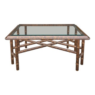 1960's Widdicomb Faux Bamboo Coffee Table For Sale