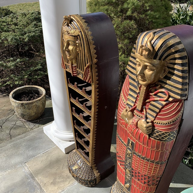 Wood Egyptian Sarcophagus Wood Dry Bar and Storage Cabinet For Sale - Image 7 of 13