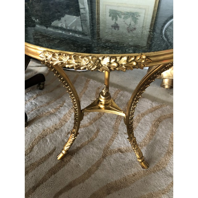 Bronze Dore and Green Marble Round Side Table For Sale In Philadelphia - Image 6 of 9