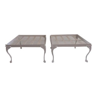 1960s Vintage Hollywood Regency White Patio Ottomans - a Pair For Sale