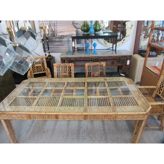 Bamboo & Seagrass Fretwork Dining Table - Image 5 of 11