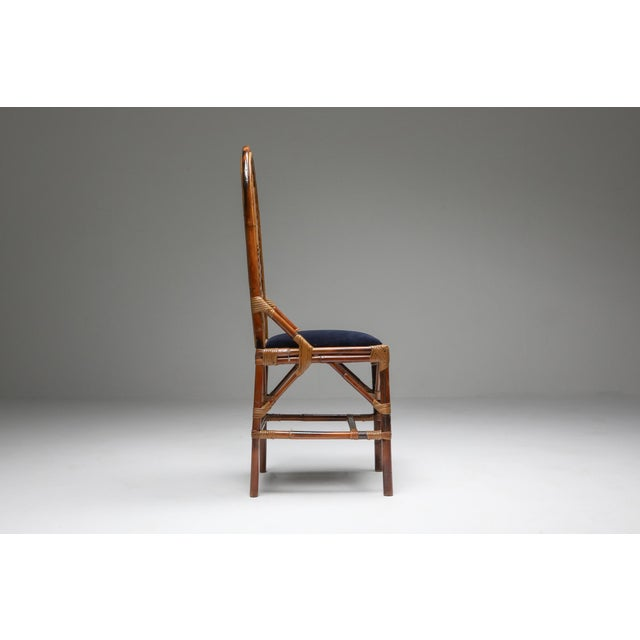 1970s Vivai Del Sud Dining Chairs in Bamboo, Brass & Blue Velvet - Set of 8 For Sale - Image 9 of 13