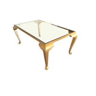 Italian Classic Louis Gold Finish Glass Top Coffee Table For Sale