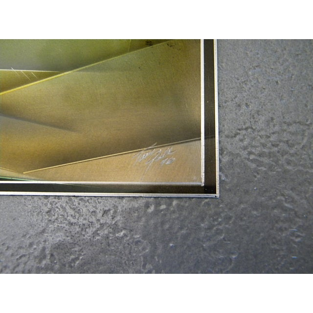 1976 Tom Gall San Francisco Bay Aluminum Etched and Airbrushed Painting For Sale - Image 9 of 10