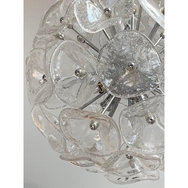 "Metal 20"" Fiori Murano Glass Pendant Orb Ceiling Light For Sale - Image 7 of 11"