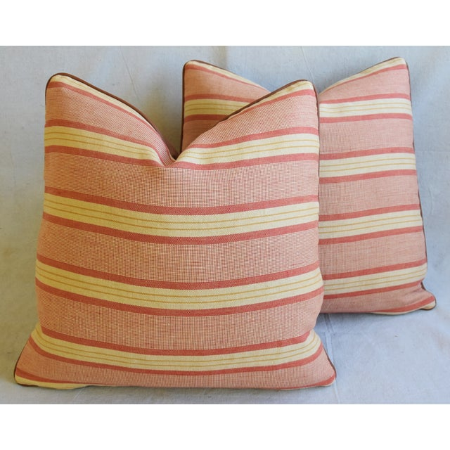 """Rogers & Goffigon & Leather Feather/Down Pillows 20"""" Square - Pair - Image 12 of 13"""