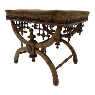 French Louis Philippe Style Faux Bamboo Stool For Sale