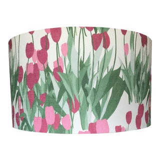In Bloom Drum Lamp Shade in Spinel Red, 12 inch Diameter For Sale