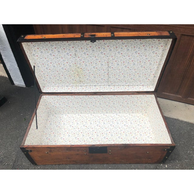 Gold 19th Century American Classical Wood and Iron Travel Trunk For Sale - Image 8 of 11